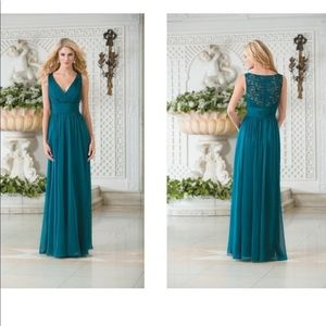 Teal chiffon and lace gown